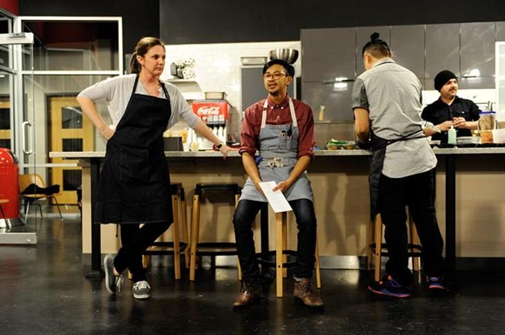 Rachel Cope and JeffChanchaleune talk to patrons during a recent Project Slurp pop-up dinner. (Garett Fisbeck)