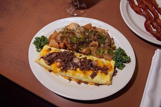 Sausage and mushroom omelet with homefries, at Cattlemens, 10-28-14, File. - MARK HANCOCK