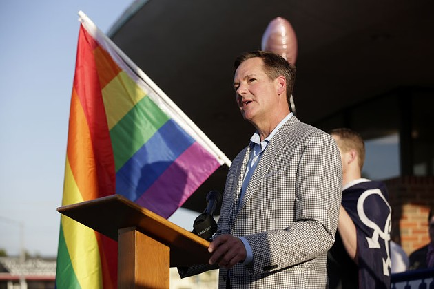 Richard Ogden speaks about Supreme Court's decision not to take up Oklahoma's same-sex marriage case at the Cimarron Alliance, Monday, Oct. 6, 2014.  Photo by Garett Fisbeck, For The Oklahoman - GARETT FISBECK, FOR THE OKLAHOMAN