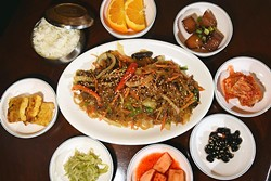 Jap-Chae, surrounded with sides, at Dong-A Korean Restaurant in Moore, Oklahoma, 1-22-16.  (Mark Hancock0