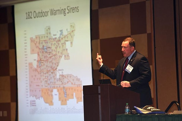 Frank Barnes speaks at The Tornado Summit in Oklahoma City, Wednesday, March 2, 2016. - GARETT FISBECK