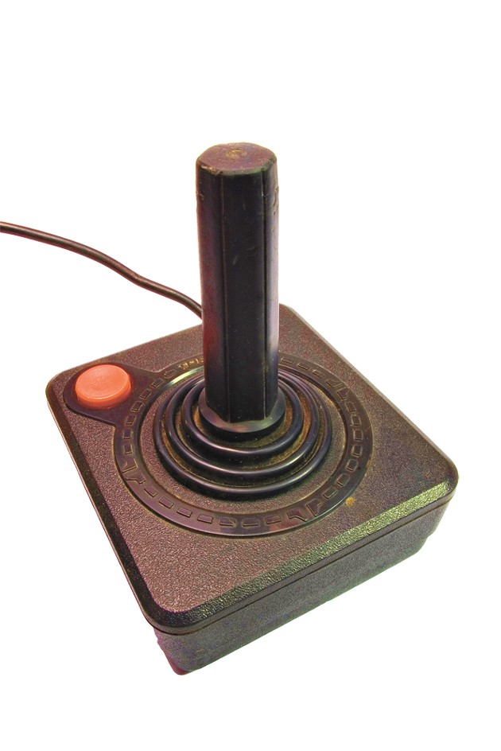 vintage joystick with red boton on white background - BIGSTOCK