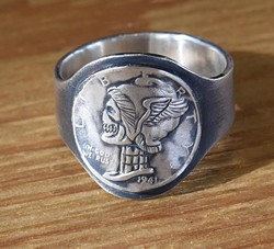 Silver Piston hand etched hobo dime ring, available at Weldon Jack, and will be featured in their 1 year anniversary & trunk sale...  mh