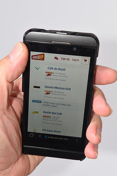 Orderup.com app on smartphone.  mh