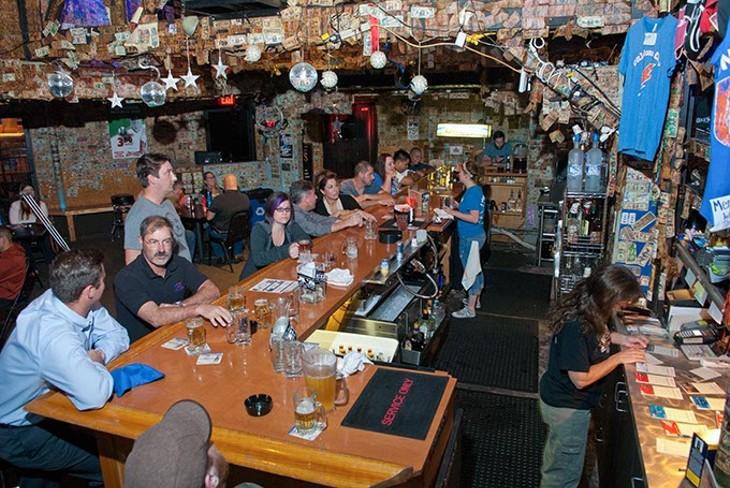Party at the bar at Edna's, 10-22-14. - MARK HANCOCK
