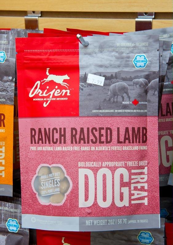 Orijen ranch raised lamb dog treats at A-1 Pet Emporium (Shannon Cornman)