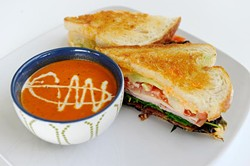 Goodie Club Sandwich and fire-roasted tomato basilsoup at Green Goodies in Oklahoma City, Tuesday, Dec. 23, 2014. - GARETT FISBECK