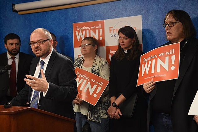 Freedom Oklahoma , formerly The Equality Network/Cimarron Alliance Fondation, held a press conference at the Oklahoma State Capitol, 1-26-15, to discuss fighting back recent anti LGBT legislation.  mh