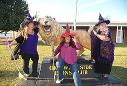 They say they're real witches, from left, Kathy Caskey, co-Chair, Deanna Broadston, Co-chair, and Emmah Hackbarth, local coordinator, for OKC's Pagan Pride Day, pictured in front of the OKC West Side Lions Club where the event will take place on October 17th, 10-5-15. - MARK HANCOCK