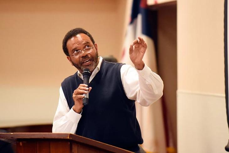 Gary Jones, KIPP parent, speaks during a OKCPS Charter School expansion meeting at Fairview Missionary Baptist Church, Tuesday, April 5, 2016. - GARETT FISBECK