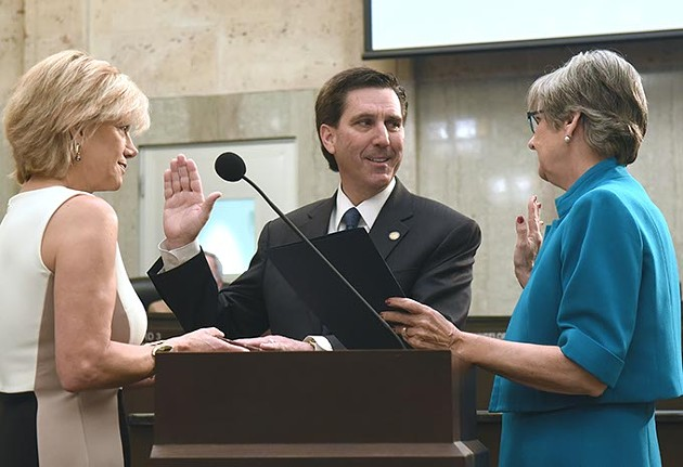 New Ward 8 OKC Councilman, Mark Stonecipher, takes the oath of office at Tuesdays meeting, 4-14-15.  mh