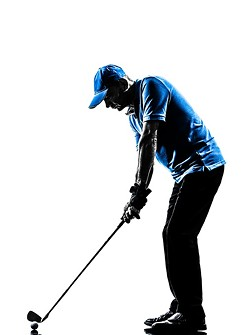 one man golfer golfing golf swing in silhouette studio isolated on white background - BIGSTOCK