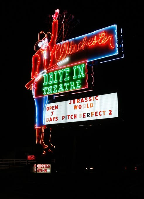 Chester welcomes guests to Winchester Drive-In. (Garett Fisbeck)