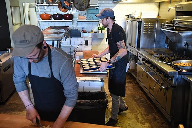 Left to right, Alex Moyer, cook, and Jonathan Stranger, owner, chef, work on food mid-day before their evening diner time opening, Monday, 9-21-15. - MARK HANCOCK