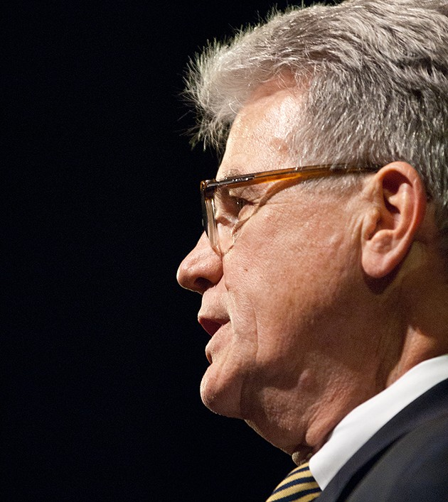 U.S. Senator Tom Coburn listens to a question during a town hall meeting in the OCCC Visual and Performing Arts Center, Monday, 8-4-14.  mh