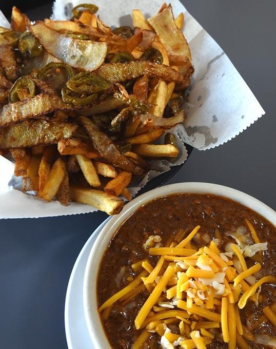 Spanish Fries with bowl of chili, at Ron's Hamburger and Chili, 4723 N. May Avenue in Oklahoma City, 12-14-15. - MARK HANCOCK