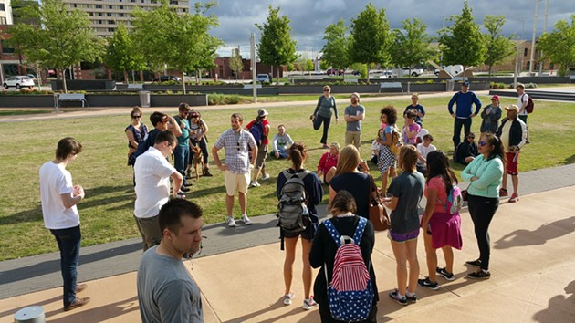 Those participating in the first Trailhead OKC hike gathered to begin the 6.2 mile walk. - BEN  FELDER