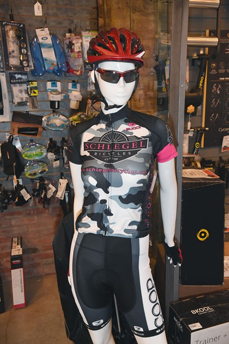 Mannequin with bike apparel at Schlegel Bicycles in Auto Alley.  mh