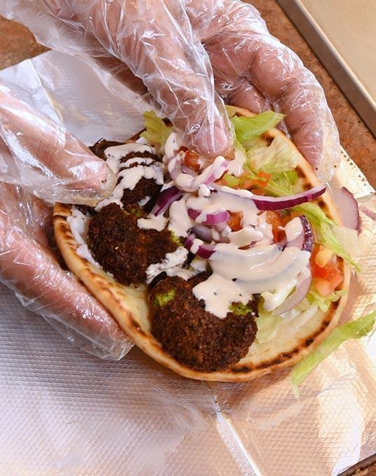 Falafel sandwich at Shawarma Vite in Norman, 10-15-15. - MARK HANCOCK