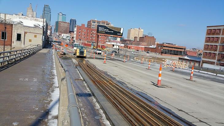Streetcar rail is being placed along Main Street south of downtown Kansas City. - BEN FELDER