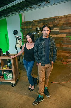 Midwest Horror Shorts Festival organizers are Victoria Michaels, and Chris Forest, photographed in their studio in MidTown OKC, 9-21-15. - MARK HANCOCK