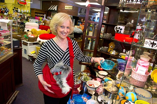 Susan Suggs, owner of Paws Around Town holds a Susan Lanci carrier (Shannon Cornman)