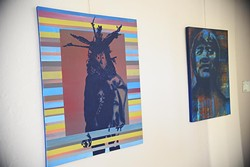 """2 works by Chicasaw artist Billy Hensley, left, """"Sacred"""", next to """"Thorpe"""", currently featured at Exhibit C native art gallery celebrating one year open in Bricktown.  mh"""