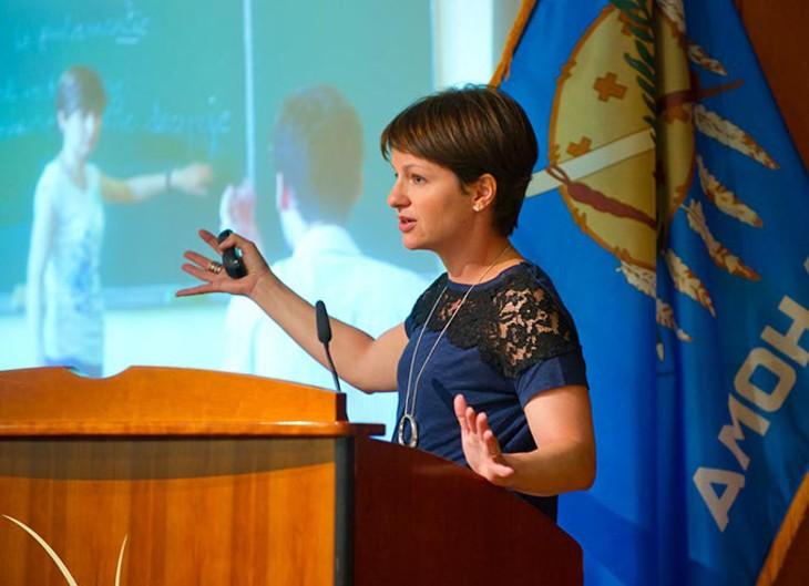 Amanda Ripley speaks during a luncheon at the Oklahoma History Center.Photo/Shannon Cornman - SHANNON CORNMAN