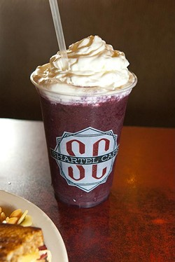 A Fuzzy Monkey smoothie piled high with whipped cream. (Mark Hancock)
