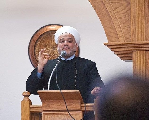 Iman Imad Enchassi conducts a 2:00 prayer service at the Islamic Society of Greater Oklahoma City, Friday, 10-3-14.  mh