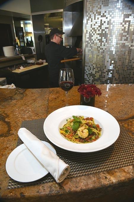 Shrimp Pasta with red wine at Stella Modern Italian Cuisine in Midtown, OKC, 11-19-15. - MARK HANCOCK