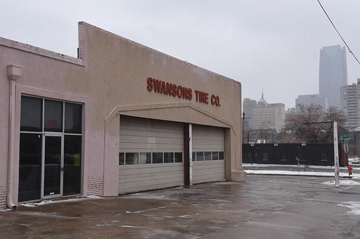 Swansons Tire Co. bldg, 1000 N Hudson Avenue, future site for Good Egg-Tex Mex restaurant concept, 12-28-15. - MARK HANCOCK