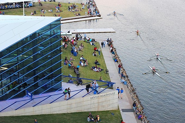 The Boathouse District was once home to little more than a drainage ditch but is now home to top-notch rowing competition and training facilities.