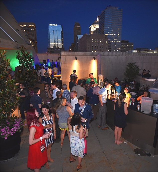 Things cooled off when the sun went down during the OKCMOA opening night rooftop party for the DeadCENTER Film Festival, 6-11-2015.  Mark Hancock