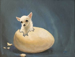 One of Mark Moad's dog portraits on display at Mix of Six