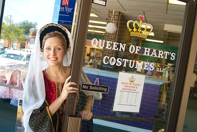 Anne Boleyn welcomes you to Hart's Costumes and Dancewear (Mark Hancock)