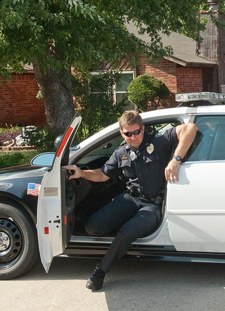"""Community Action Officer Roland """"Rollie"""" Branham arrives in a Midwest City neighborhood to visit with residents on Big Oak Drive.  mh"""