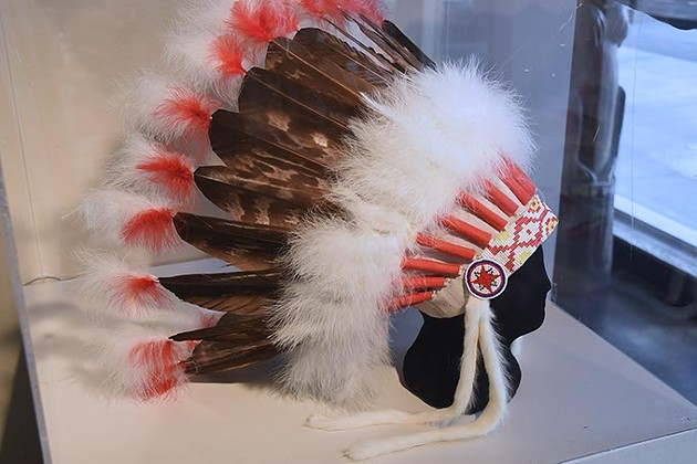 A Creek headdress donated by Allie Reynolds, on display at Red Earth Museum in Downtown OKC.  mh