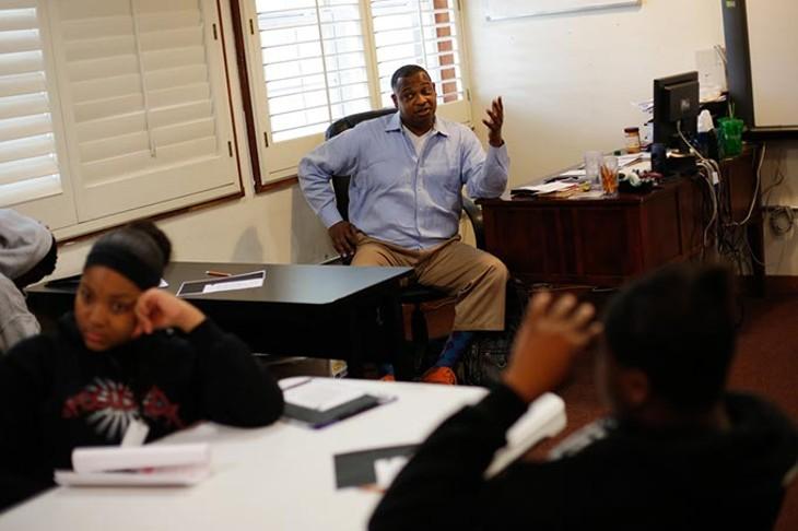 Steve Davis teaches life skills at Seeworth Academy in Oklahoma City, Friday, April 24, 2015. - GARETT FISBECK