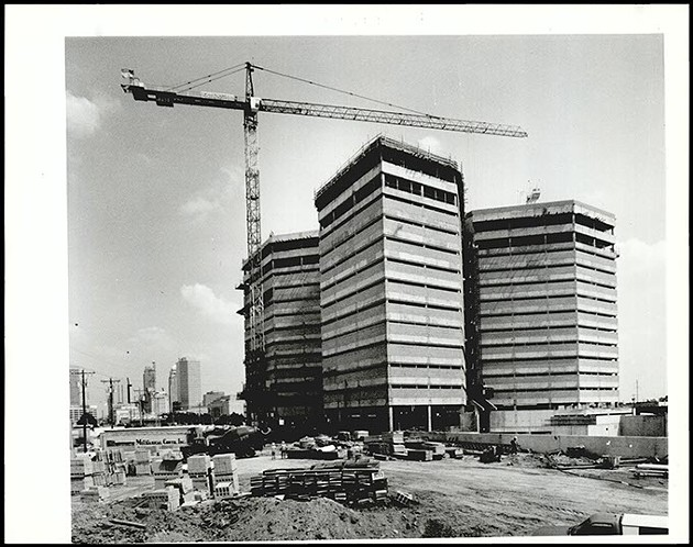 """In September 1990, Oklahoma County and city officials celebrated after the jail was """"topped out,"""" meaning the building reached its greatest construction height. (Oklahoma Publishing Company Collection / Courtesy Oklahoma Historical Society)"""