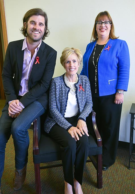 Chair persons and board members for the Oklahoma Aids Care Fund and Red Tie Night, from left, Graham Colton, his mom, Cindy Cooper, and New Director, Cher Golding, 11-3-15. - MARK HANCOCK