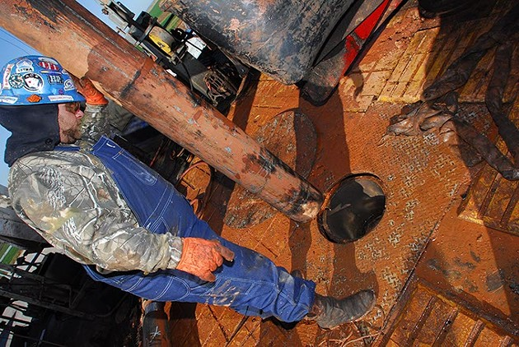 Jason Roberts drills on a Devon natural gas rig in the CANA field near Calumet Oklahoma. (Mark Hancock)