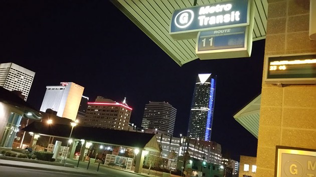 The downtown transit hub had activity Monday night as Embark launched evening service on two routes. - BEN FELDER