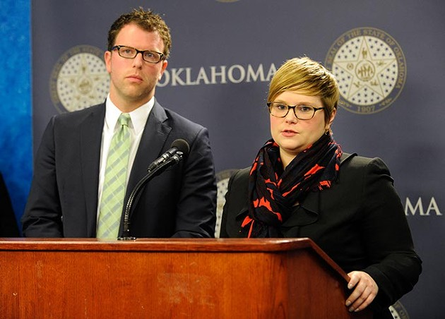 Rep. Jason Dunnington and Rep. Emily Virgin answer question during an Equal Pay for Equal Work Bill press conference at the Oklahoma State Capitol, Jan. 27, 2015. - GARETT FISBECK