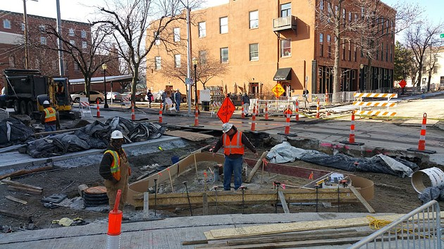 Construction is well underway in the Rivermarket, one of the downtown neighborhoods that will be included on the two-mile line. - BEN FELDER