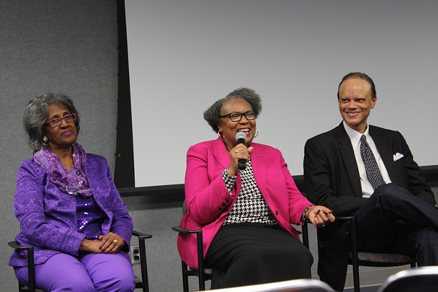 Joyce Jackson, who was involved in the civil rights sit-ins in Oklahoma City, smiles following a screening of Children of the Civil Rights. Joyce Henderson sits on her left, and Hannibal Johnson sits on her right.