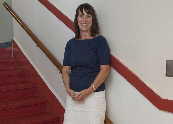 Principal Alisa Stieg in the hallway at Edgemere Elementary School. - MARK HANCOCK