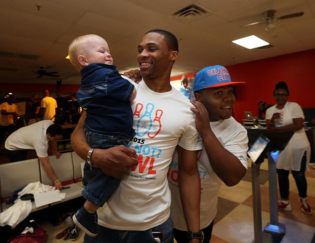 EDMOND, OK - APRIL 9:  Oklahoma City Thunder Russell Westbrook sponsor his 5th annual Why Not? Foundation bowling event on April 9, 2015 at AMF Boulevard Lanes in Edmond, Oklahoma. NOTE TO USER: User expressly acknowledges and agrees that, by downloading and or using this Photograph, user is consenting to the terms and conditions of the Getty Images License Agreement. Mandatory Copyright Notice: Copyright 2015 NBAE - PHOTO BY LAYNE MURDOCH/NBAE VIA GETTY IMAGES