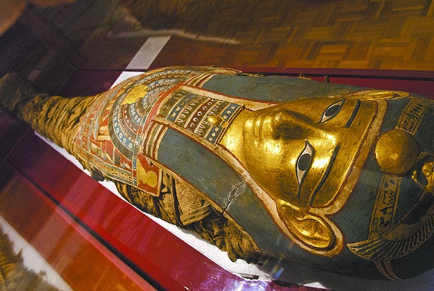 (From tag in museum) Mummy with Cartonnage and Breastplate from the Faiyum district of Egypt. - Tutu died approximately 332 B.C.