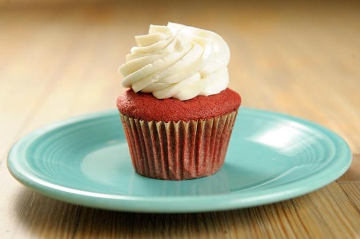 Red velvet cupcake at Crimson & Whipped Cream in Norman, Tuesday, July 21, 2015. - GARETT FISBECK